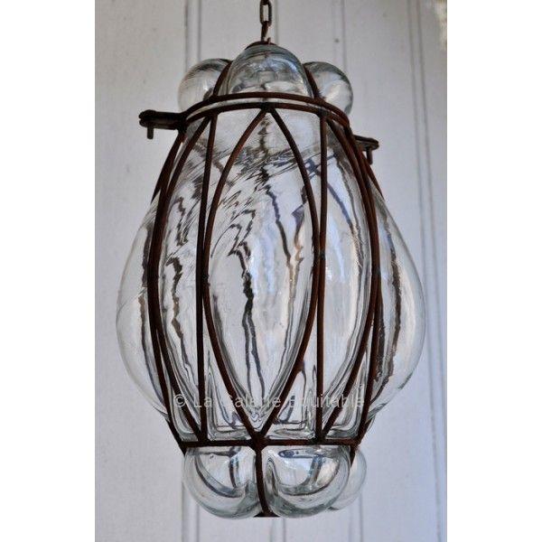 magnifique lampe artisanale de syrie en verre souffl et fer forg 140 chez la galerie. Black Bedroom Furniture Sets. Home Design Ideas