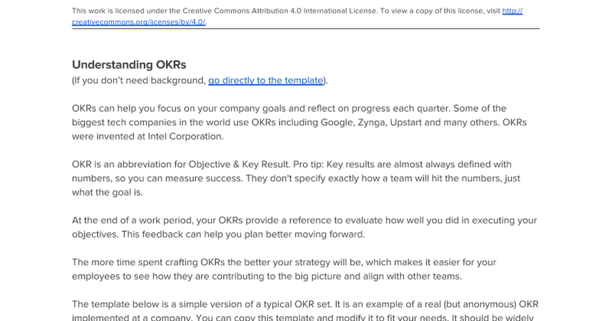 Startup OKRs Template Objective Key Resources