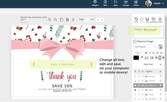 Instant download 5x7 Business Thank You Card, Holidays, Christmas, Edit Online, Corjl, Holly, Bow, F #businessthankyoucards