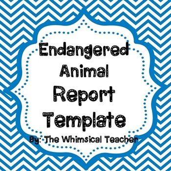 Endangered Animal Report Template 3rd 4th 5th 6th grade FREEBIE - animal report template