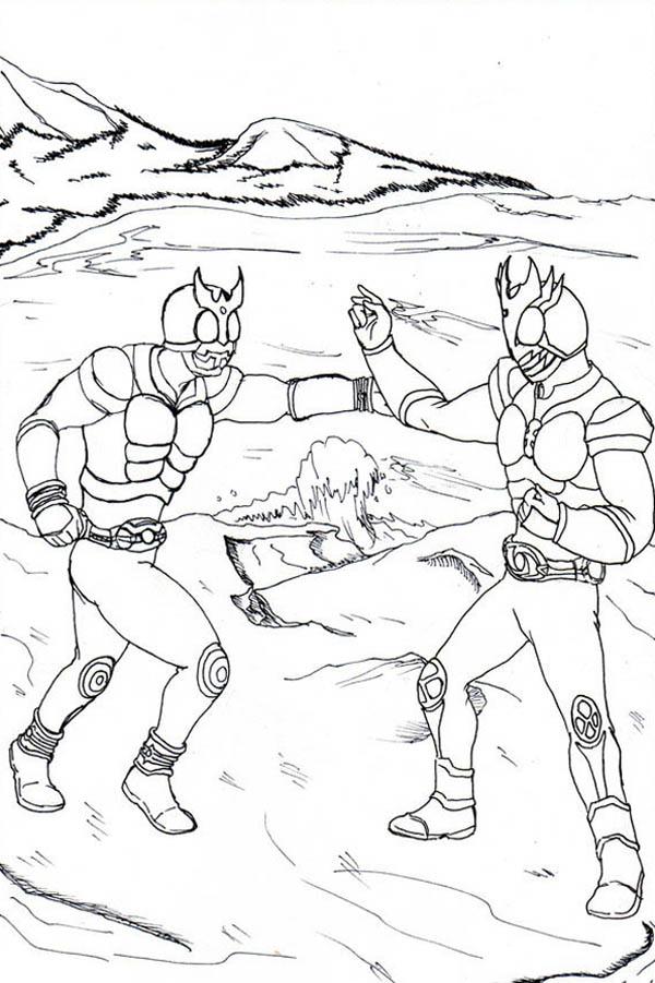 Kamen Rider Kuuga And Agito Coloring Page Netart Coloring