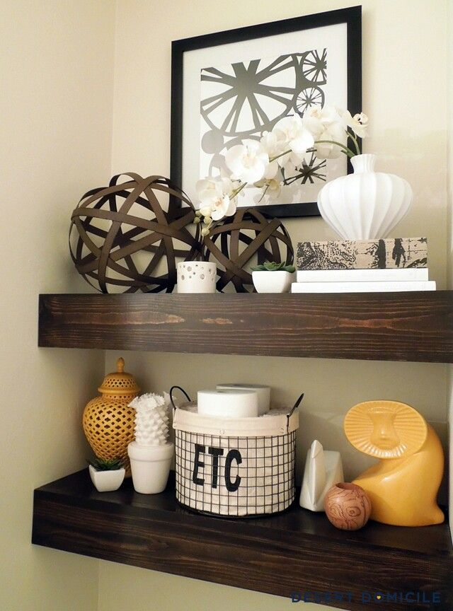 Shelves with GREAT STORAGE in the water closet.