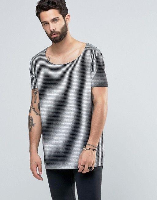 cbd07387848e7 Super Longline T-Shirt With Scoop Neck And Curved Hem In Mini Stripe ...