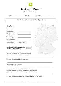 Bundesland Bayern Arbeitsblatt | Pinterest | Bundesland bayern ...