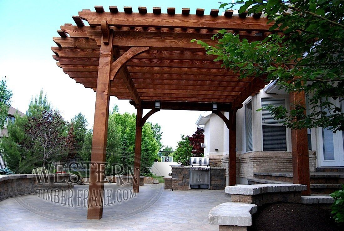 Free standing pergola with Early American stain and Roosevelt profile. Upgraded radius roof.