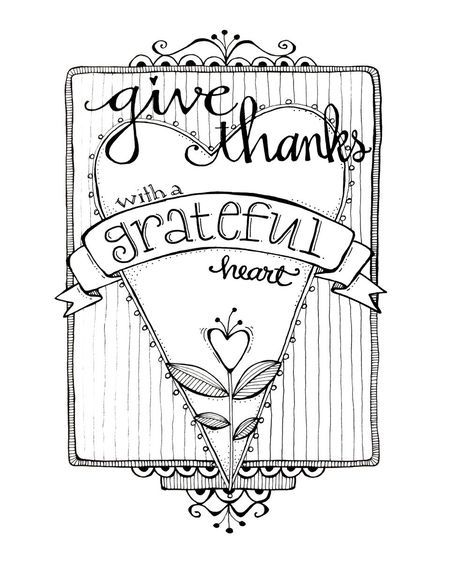 Give Thanks Grateful Heart - free image for coloring