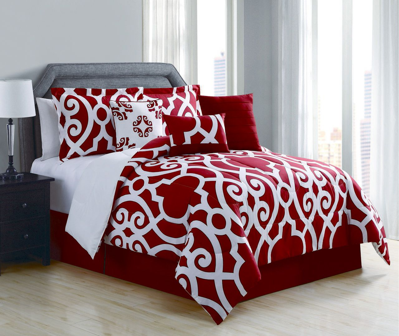 Megan Red X2f White Comforter Set