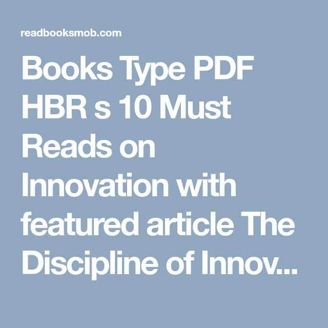 Books Type Pdf Hbr S 10 Must Reads On Innovation With