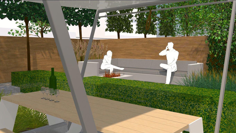 3d voorstelling tuinontwerp achtertuin te eindhoven for Stoop eindhoven