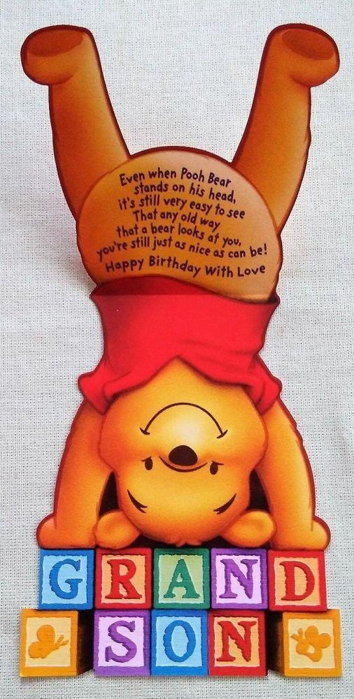 Greeting Card Birthday Card Disney Winnie Pooh Bear Grandson