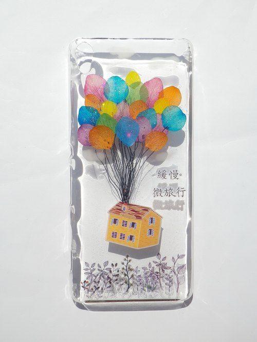 Annys workshop, Handmade phone case, Pressed flowers phone case, Sony Xperia XA, take a trip