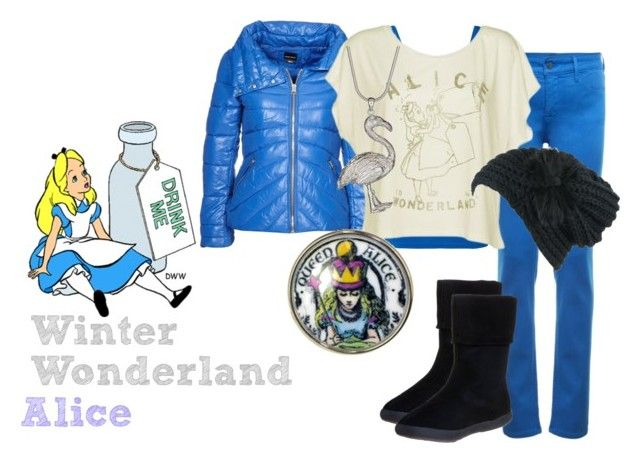 """Alice's Winter Wonderland"" by ravencraftwriter ❤ liked on Polyvore featuring mbyM, Miss Sixty, NYDJ, Junk Food Clothing, KangaROOS, PDB, Tarina Tarantino, Disney, jeggings and slouchy t-shirt"