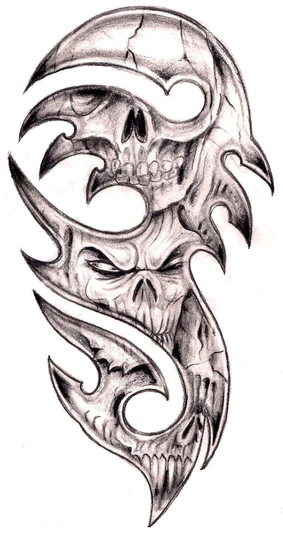 Realistic Skulls In Tribal Design Tattoo Sample By Tashitam Tribal Tattoo Designs Tribal Skull Picture Tattoos