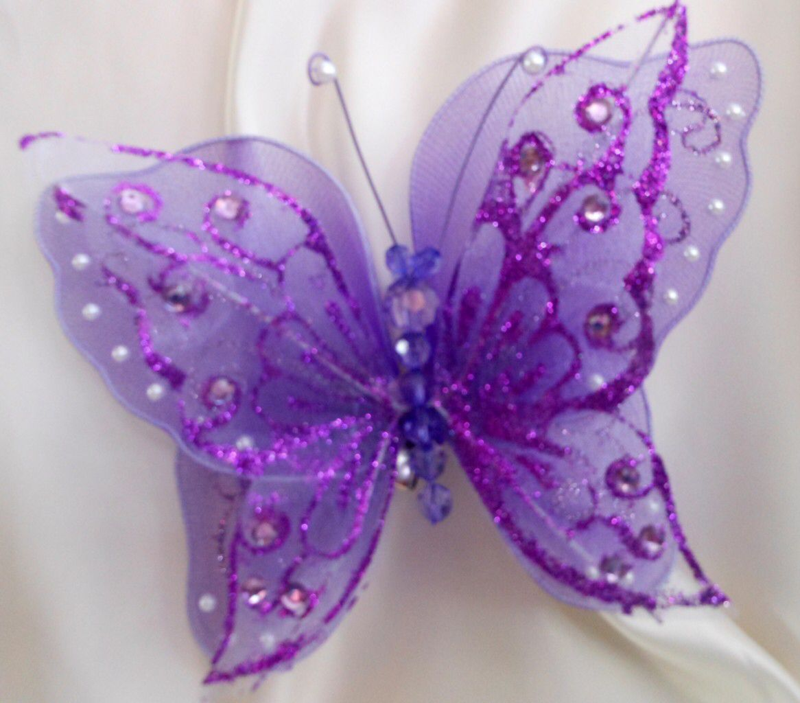 Perfect Clip On Large Butterfly, Weddings, Chair Sash Purple/Pink/White