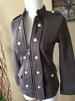 New Sexy Military Button Front Slim Fitted Stretch Classic Gray Warm Jacket M | eBay
