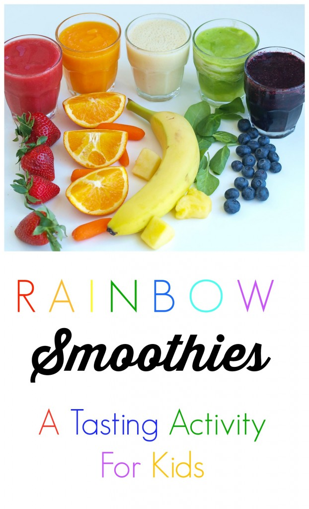 Rainbow Smoothies--Teach Your Kids about Eating The Rainbow with this fun tasting activity! #kidsnutrition