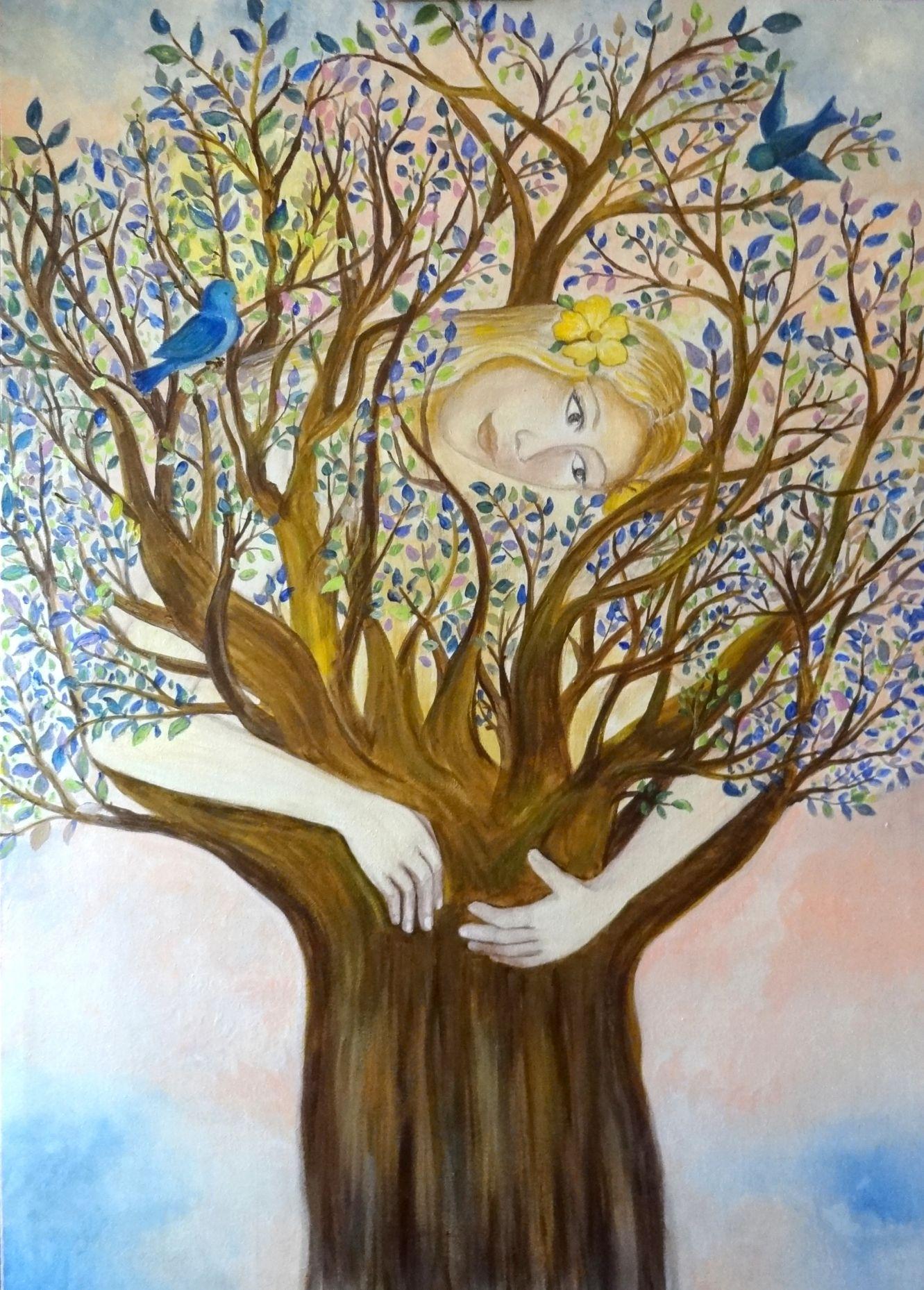 Peinture sur toile : La driade et les oiseaux : Peintures par marie-lumiere