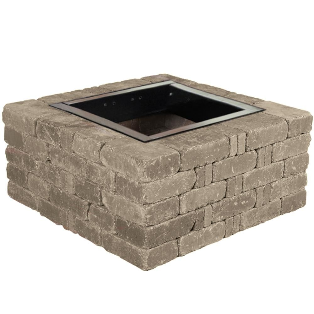 Pavestone Rumblestone 38 5 In X 17 5 In Square Concrete Fire Pit Kit No 6 In Greystone Rsk50834 Fire Pit Kit Square Fire Pit Concrete Fire Pits