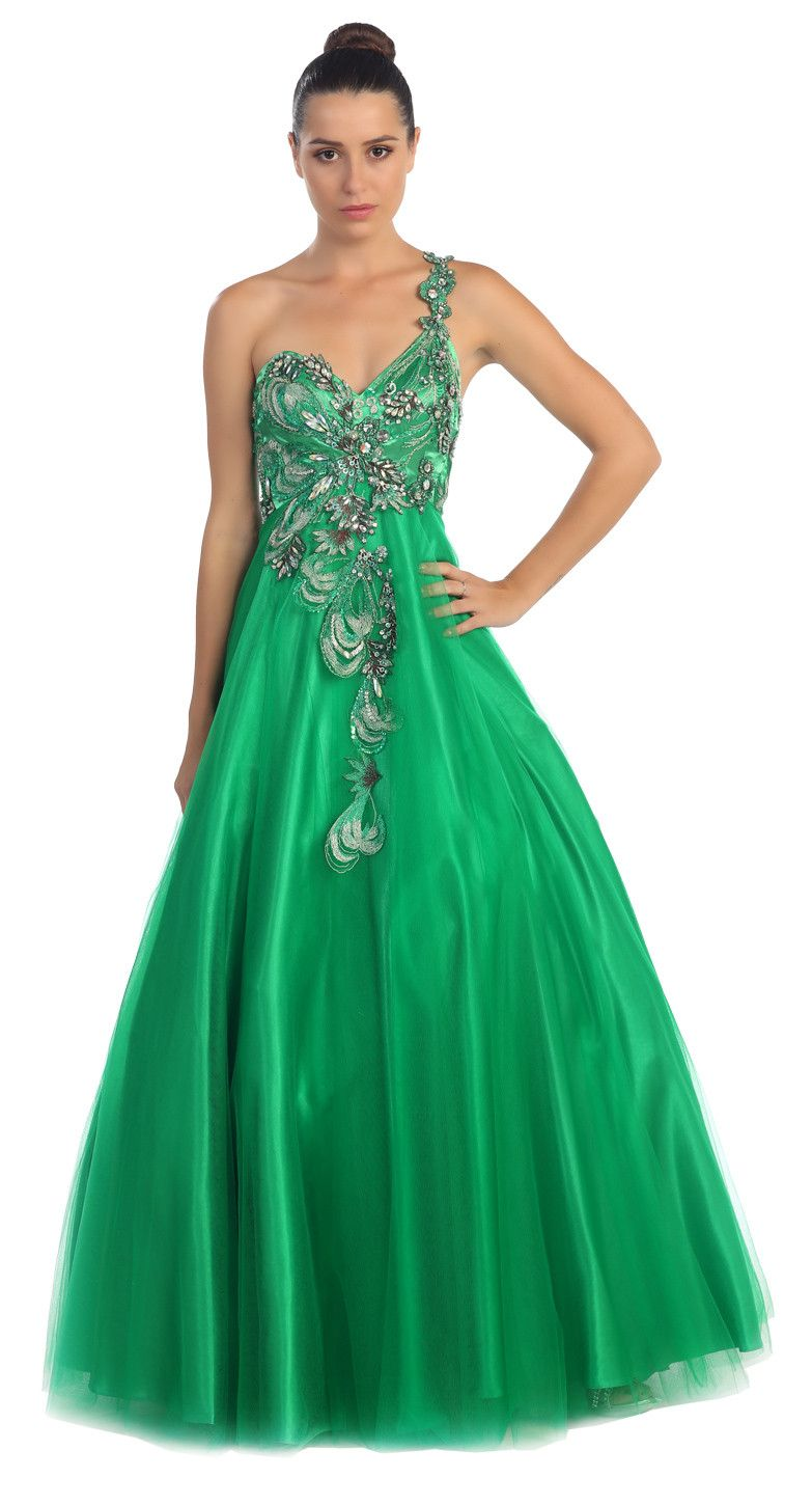 Sleeveless One Shoulder Beaded Long Turquoise Ball Gown