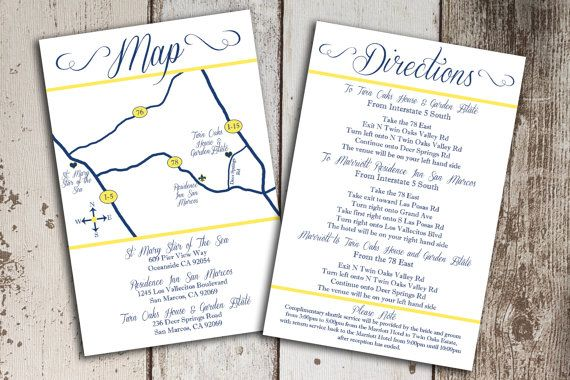 Custom Wedding Map And Direction Invitation Insert Printable File
