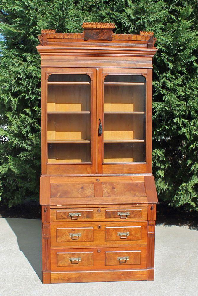 Walnut Eastlake Victorian Slant Front Secretary Desk W Bookcase Top Fancy Crown Victorianeastlake