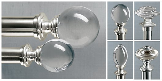 Nickel Curtain Rods With Glass Finials From Restoration Hardware