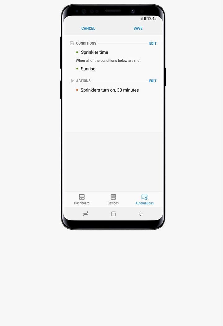 SmartThings 앱에서 '조건' 및 '동작' 자동화가 활성화된 Galaxy S9 미드나잇 블랙의