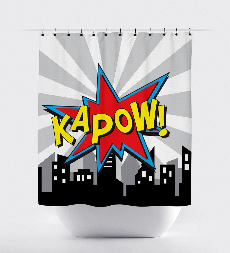 Superhero Shower Curtain Comic Word Bathroom Print Art Shoppe