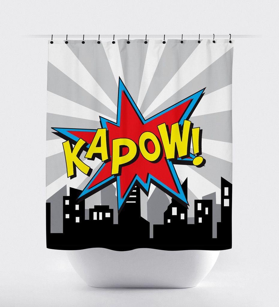 KaPow Superhero Shower Curtain