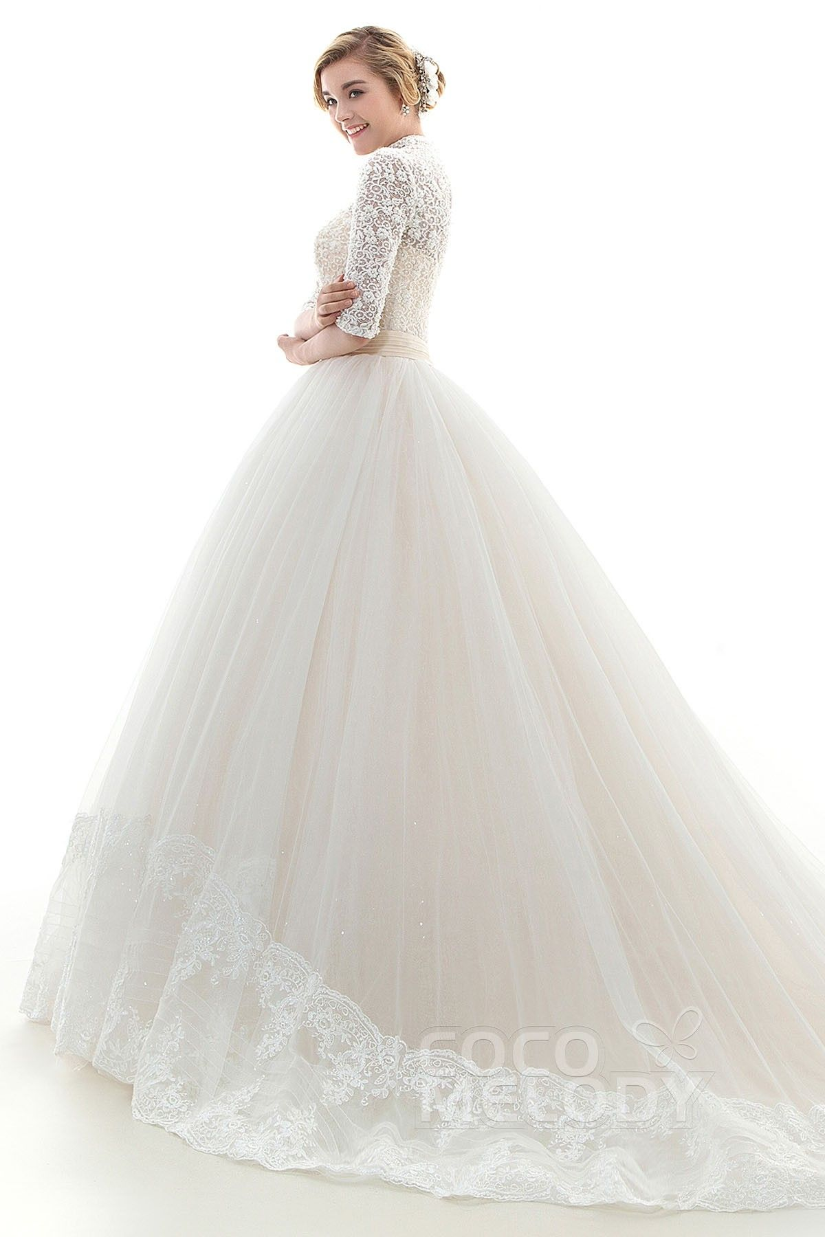 Modern A-Line High Neck Natural Chapel Train Tulle Ivory/Champagne Half Sleeve…