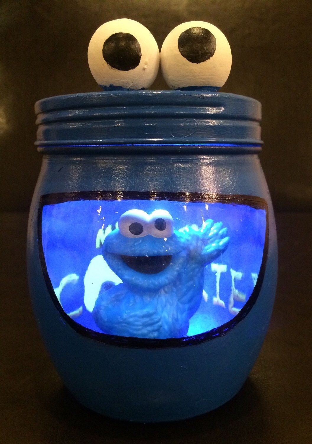 Cookie Monster night light. Cookie Monster light. Sesame Street night light. Cookie Monster LED night light, Elmo and Friends light by AmericanaGloriana on Etsy https://www.etsy.com/listing/257387614/cookie-monster-night-light-cookie
