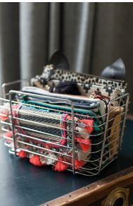 From wearingittoday.com - wire basket from John Lewis to store clutch bags