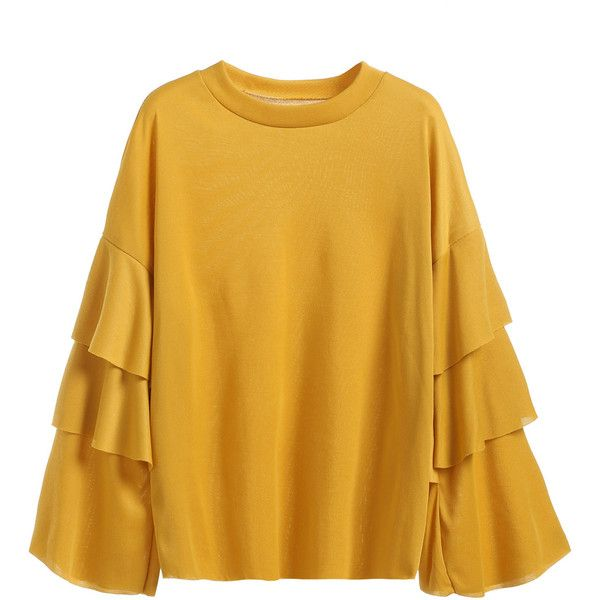 104d5e613e8bb SheIn(sheinside) Yellow Ruffle Tiered Sleeve T-shirt ( 14) ❤ liked on Polyvore  featuring tops