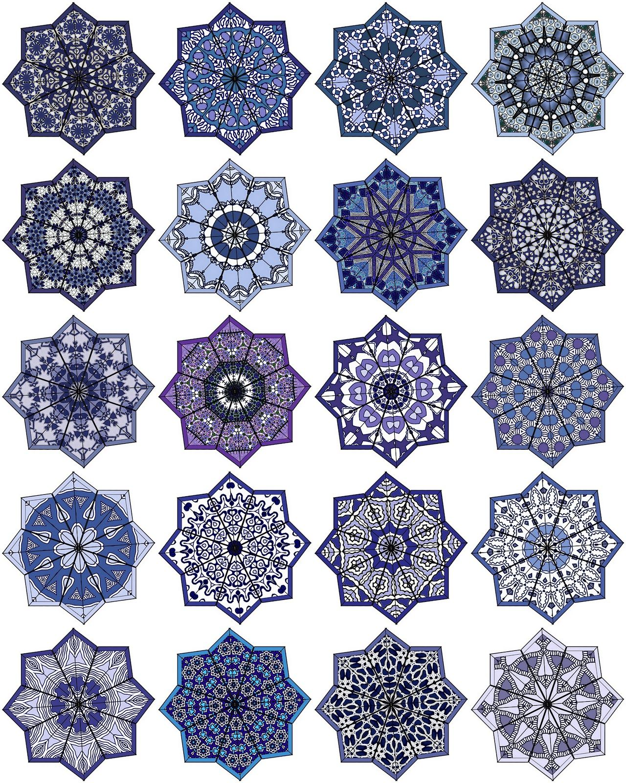 Artbyjean Paper Crafts Eight Ppointed Star Shaped Medallions 20 Different Ones On Digital Collage Sheet Islamic Art Pattern Pattern Art Geometric Art