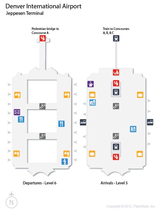 DEN) Denver International Airport Terminal Map | airports | Flight ...