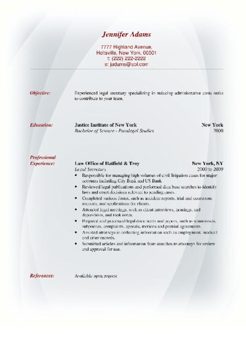 Sample Resume Format Resume Formats triggs Pinterest - references format for resume