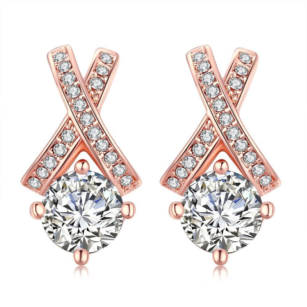 18K Rose Gold Plated Diamond Earring by Rubique Jewelry