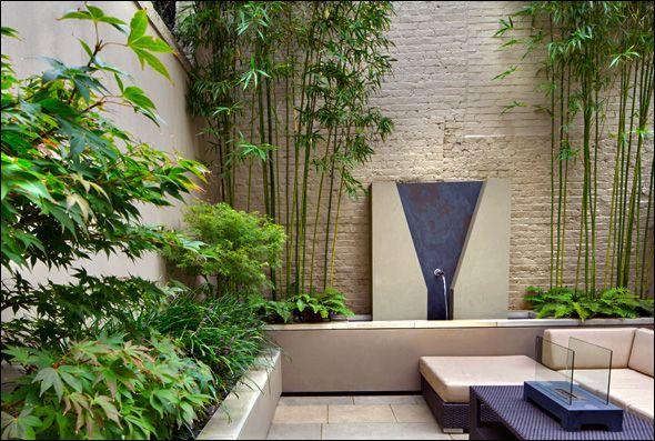 Small Contemporary Courtyard Garden Small Courtyard 400 x 300