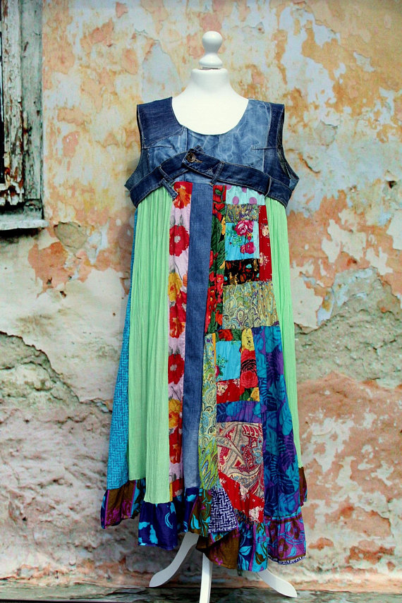 af0fe2390f L- Boho colorful patchwork and denim recycled tunic dress hippie style