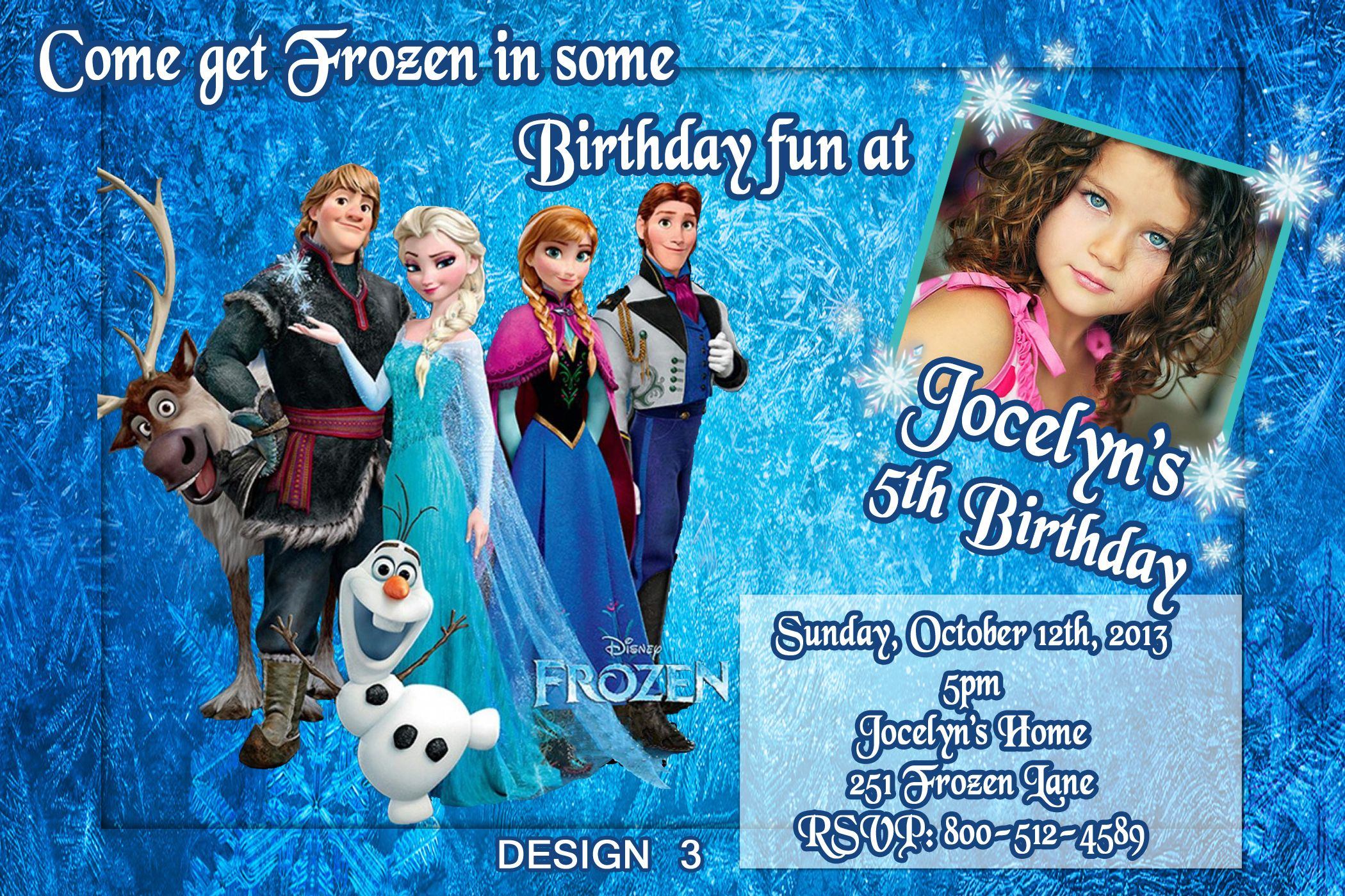 Frozen Movie Birthday Photo Invitations $8.99   Disney Frozen Movie ...