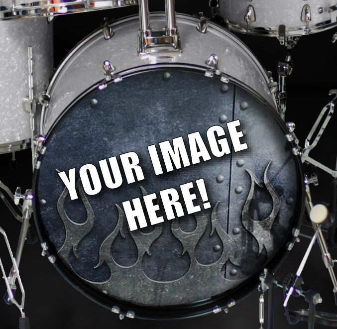 custom vinyl bass kick drum head wraps skins covers decal your own image band logo 18 20 22. Black Bedroom Furniture Sets. Home Design Ideas