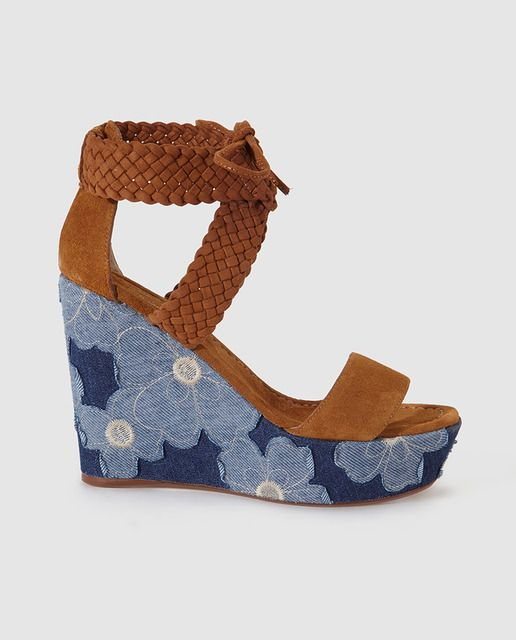 Sandalias de cuña de mujer Gloria Ortíz estampadas azules