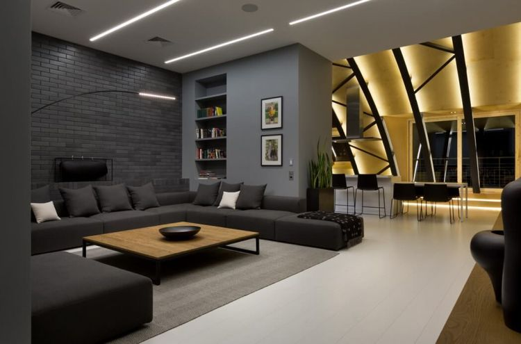 Good Anthrazit Farbe, Indirekte Beleuchtung Und Attraktive Akzente Lassen Die  Moderne Raumgestaltung Belebt Und Individuell Wirken. Ideas