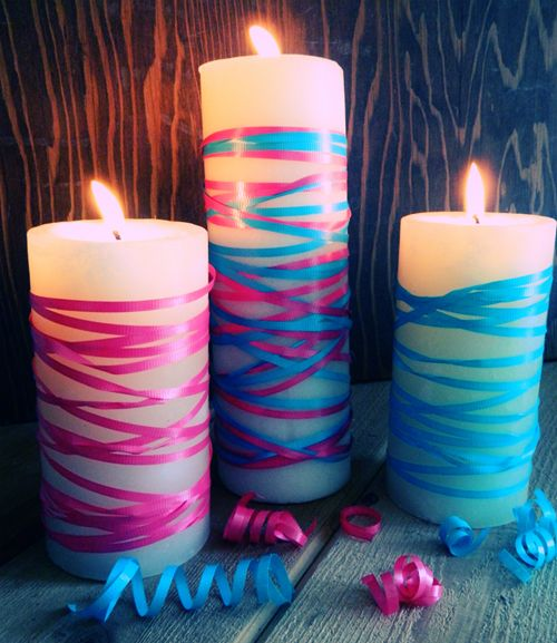 6 Ways To Decorate With Dollar Store Candles Gender Reveal Decorations Baby Gender Reveal Party Reveal Ideas