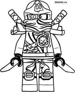 Раскраска Ниндзяго Лего Зейн белый ниндзя   Лего раскраски ...