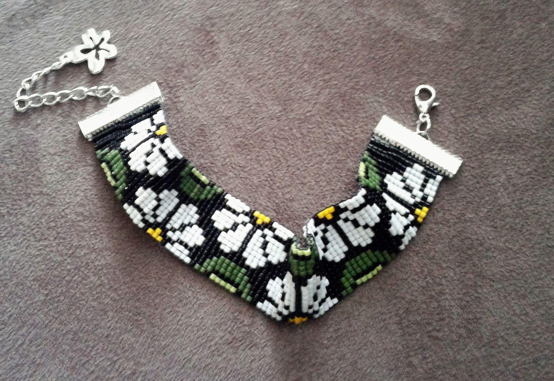 Manchette brésilienne tissée en perles Miyuki : Bracelet par pommeflobijoux