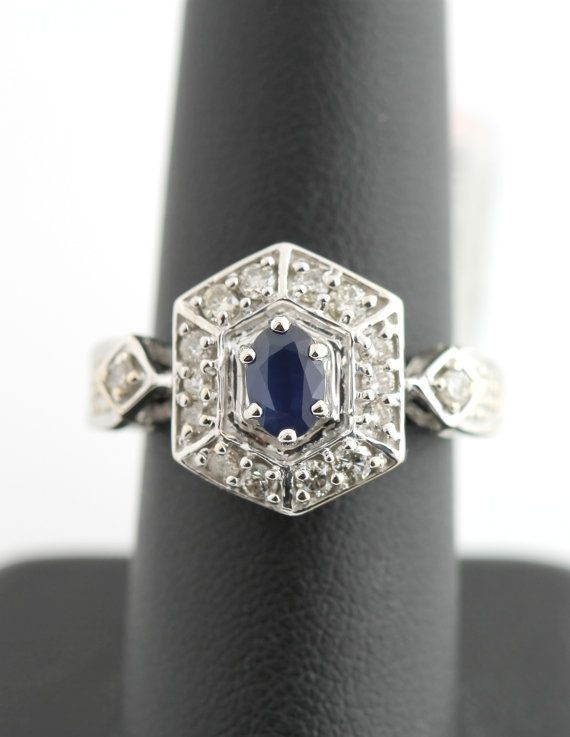 14k White Gold 1 2 Carat Diamond 1 2 Ct Sapphire Cluster Ring Vintage In 2020 Jewelry Beautiful Rings Vintage Jewelry