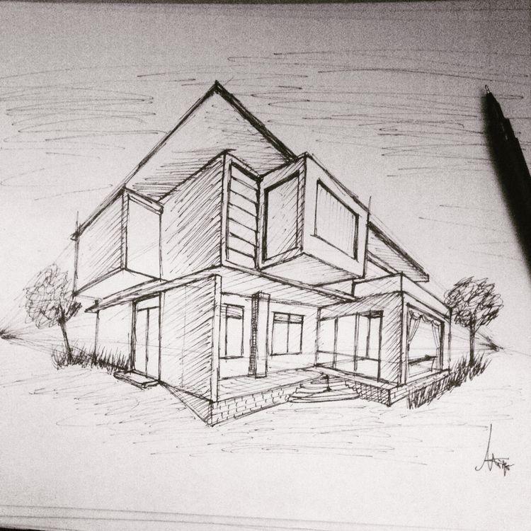 architektur haus zeichnen wohn design. Black Bedroom Furniture Sets. Home Design Ideas