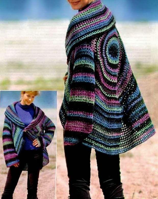 Crochet Sweaters: Crochet Cardigan Circle Pattern   Crochet Coats ...