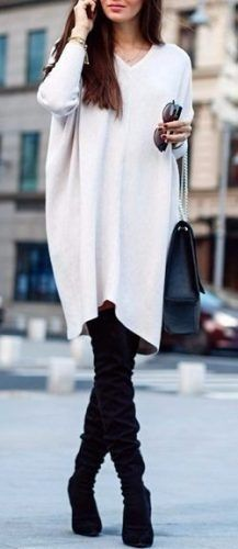 oversize sweater outfit with high boots